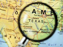 texas map magnifying glass
